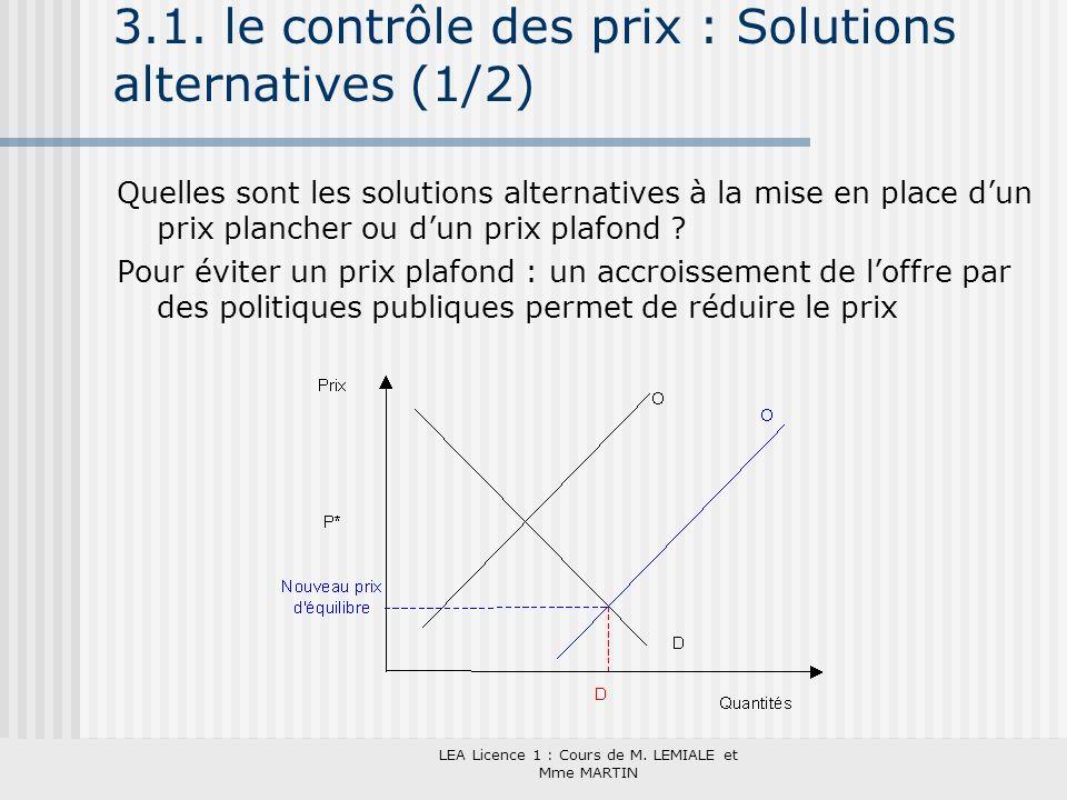 3.1. le contrôle des prix : Solutions alternatives (1/2)