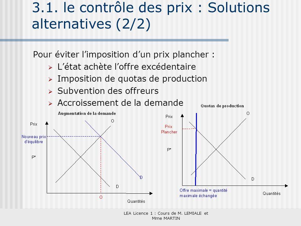 3.1. le contrôle des prix : Solutions alternatives (2/2)