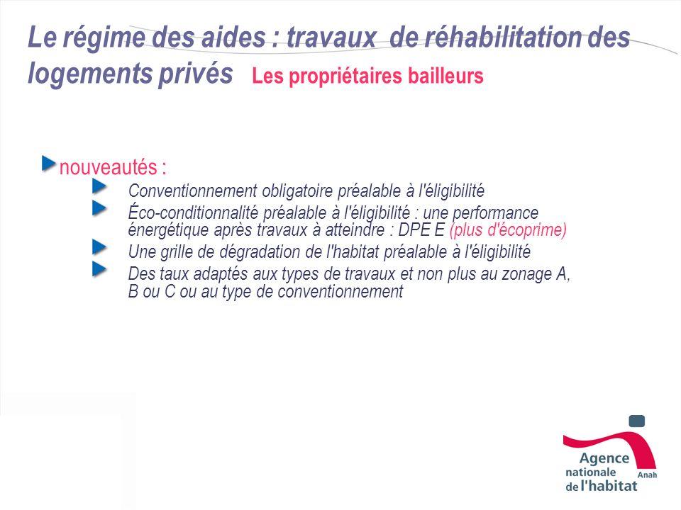 Le régime des aides : travaux de réhabilitation des logements privés Les propriétaires bailleurs