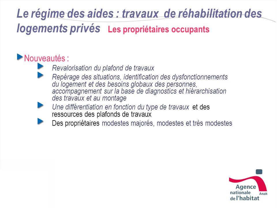 Le régime des aides : travaux de réhabilitation des logements privés Les propriétaires occupants