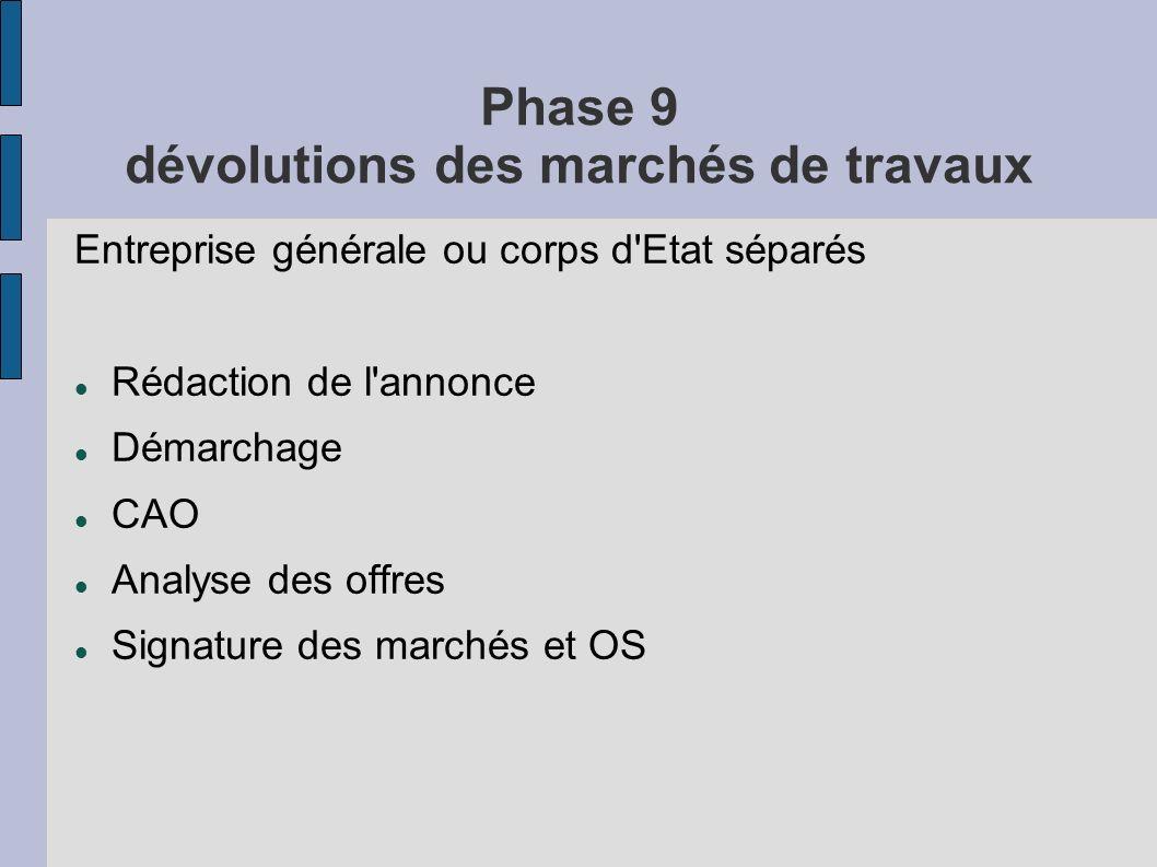 Phase 9 dévolutions des marchés de travaux