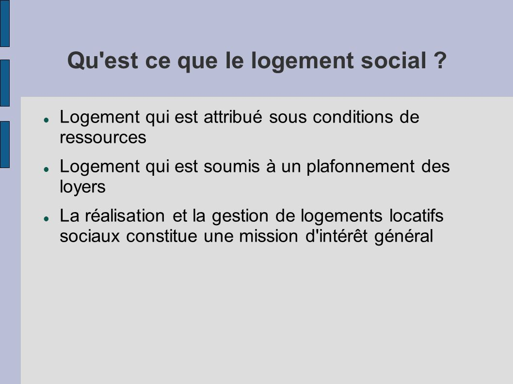 Plan de l 39 intervention premi re partie le logement social - Plafonds de ressources logement social ...