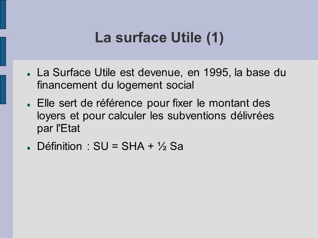Plan de l 39 intervention premi re partie le logement social ppt video online t l charger - Calcul surface utile bureaux ...