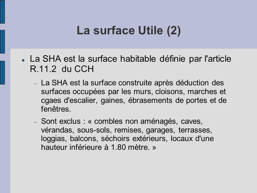 La surface Utile (2) La SHA est la surface habitable définie par l article R.11.2 du CCH.