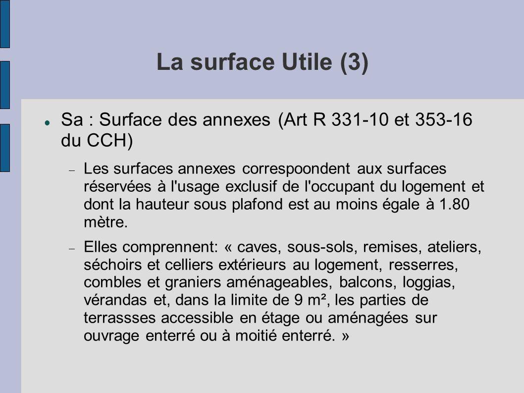La surface Utile (3) Sa : Surface des annexes (Art R 331-10 et 353-16 du CCH)