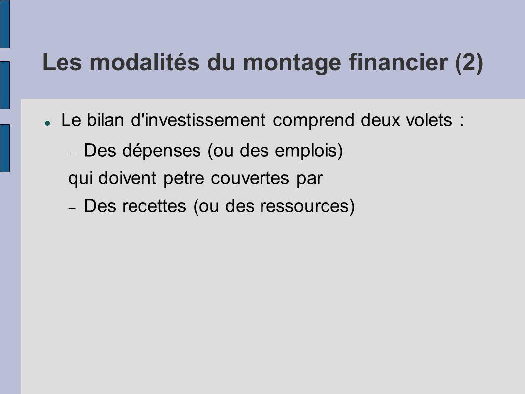 Les modalités du montage financier (2)