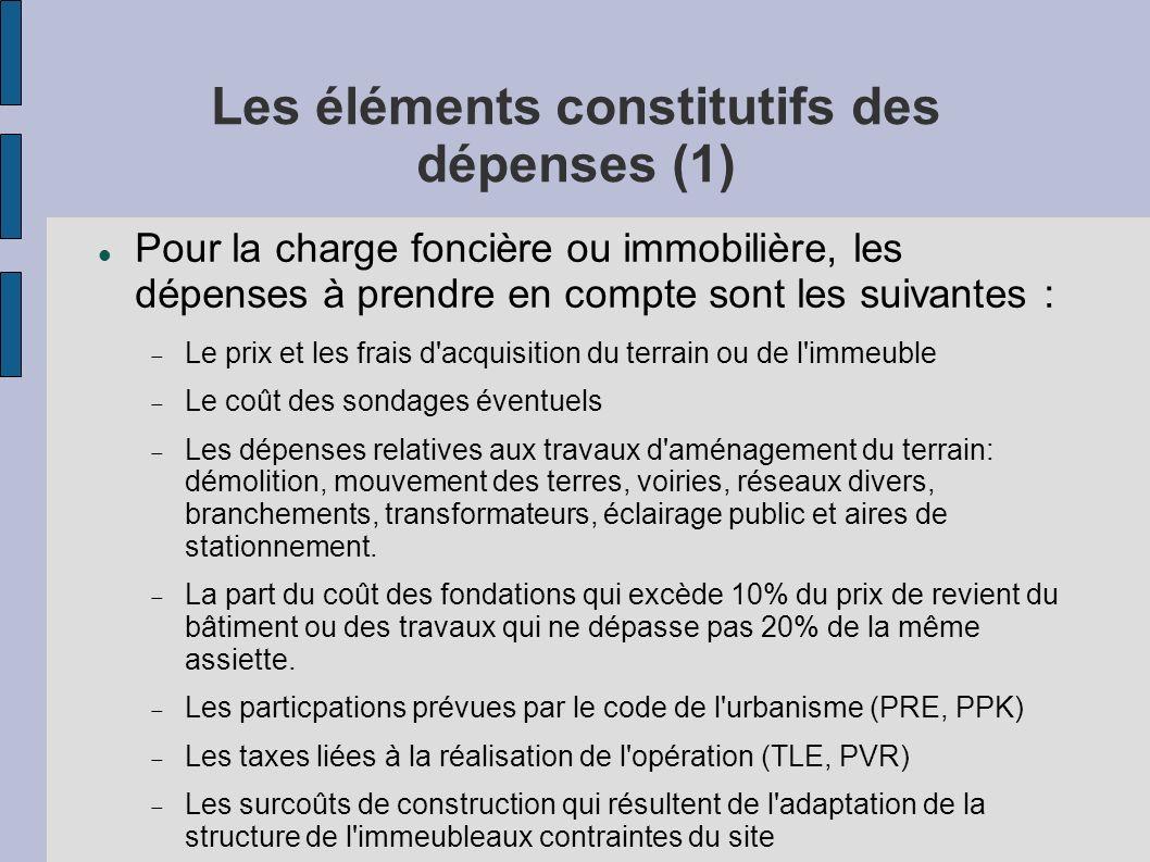 Les éléments constitutifs des dépenses (1)