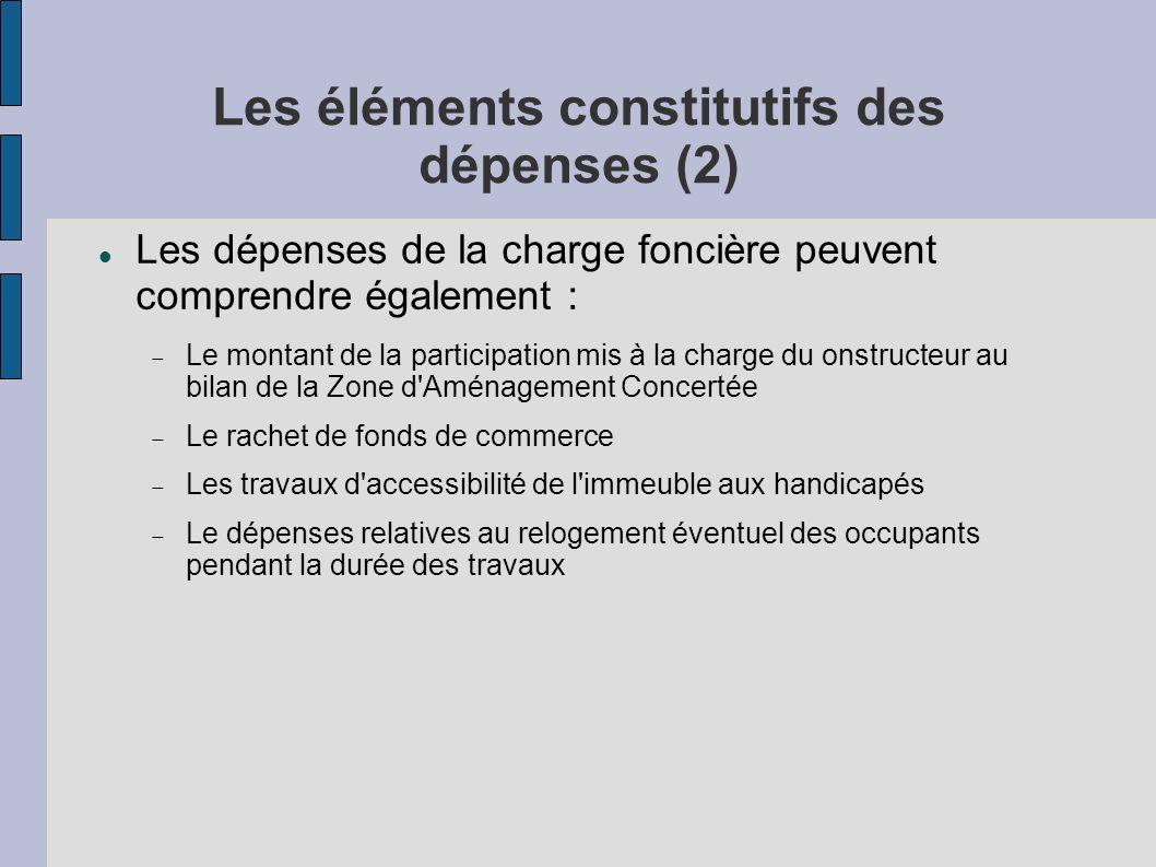 Les éléments constitutifs des dépenses (2)