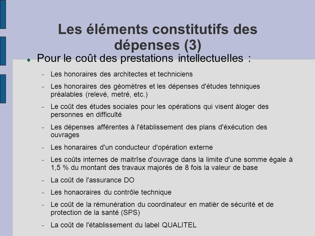 Les éléments constitutifs des dépenses (3)