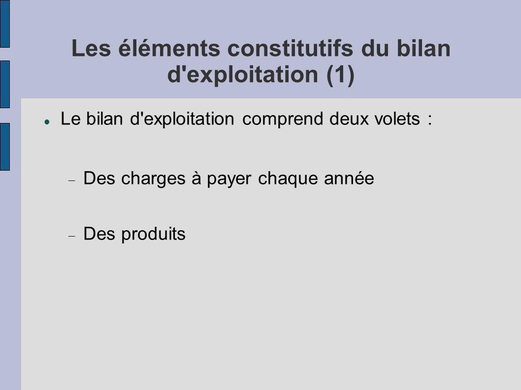 Les éléments constitutifs du bilan d exploitation (1)
