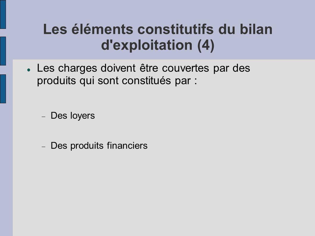 Les éléments constitutifs du bilan d exploitation (4)