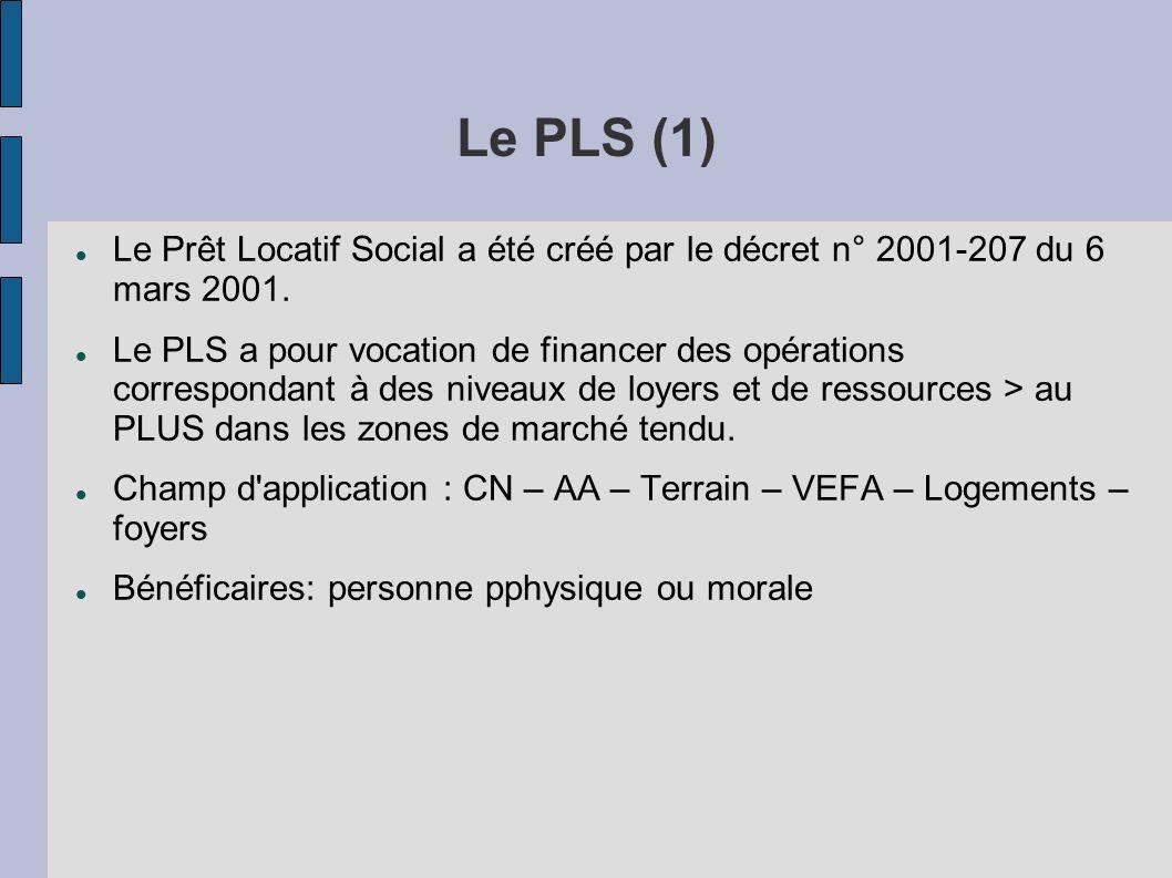 Le PLS (1) Le Prêt Locatif Social a été créé par le décret n° 2001-207 du 6 mars 2001.