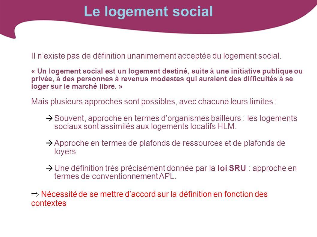 Le logement social Il n'existe pas de définition unanimement acceptée du logement social.
