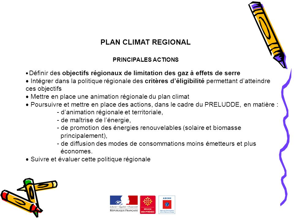 PRELUDDE 2008 PLAN CLIMAT REGIONAL. PRINCIPALES ACTIONS. Définir des objectifs régionaux de limitation des gaz à effets de serre.