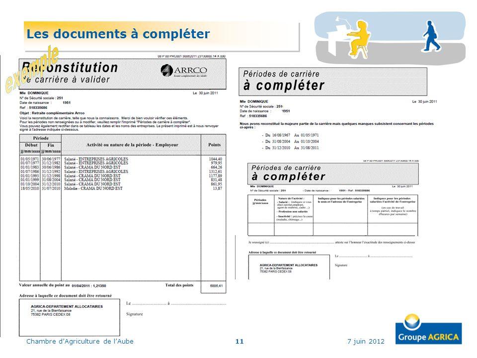 Les documents à compléter