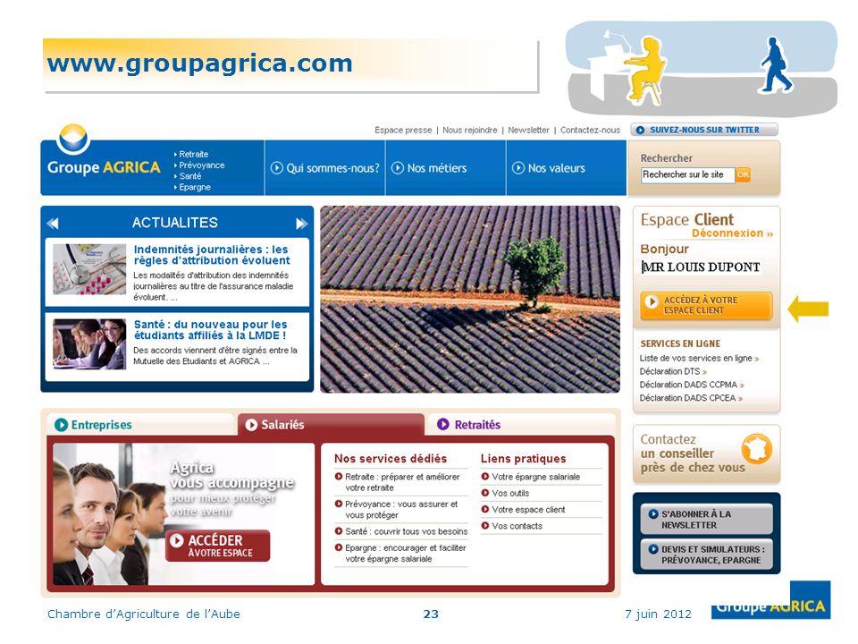 www.groupagrica.com Chambre d'Agriculture de l'Aube 7 juin 2012