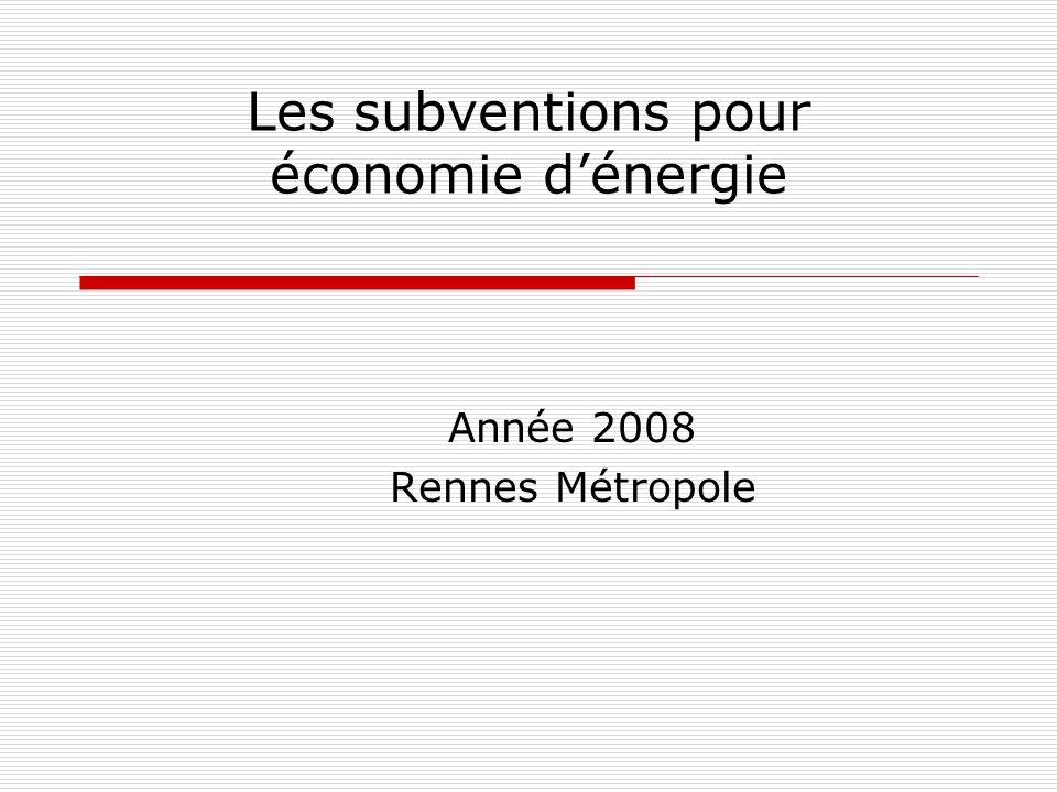 Les subventions pour économie d'énergie