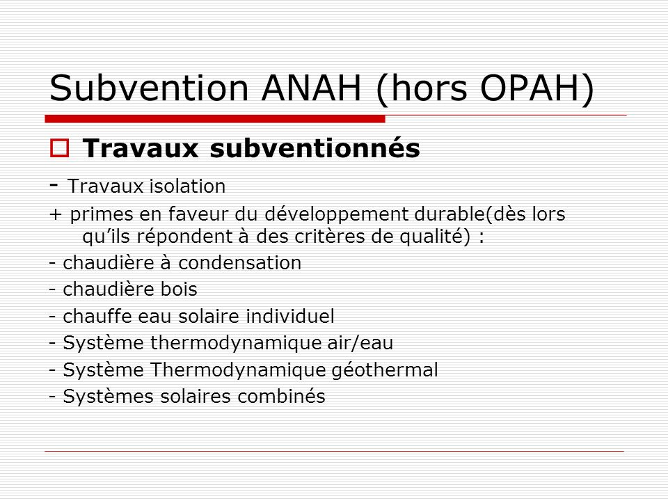 Subvention ANAH (hors OPAH)