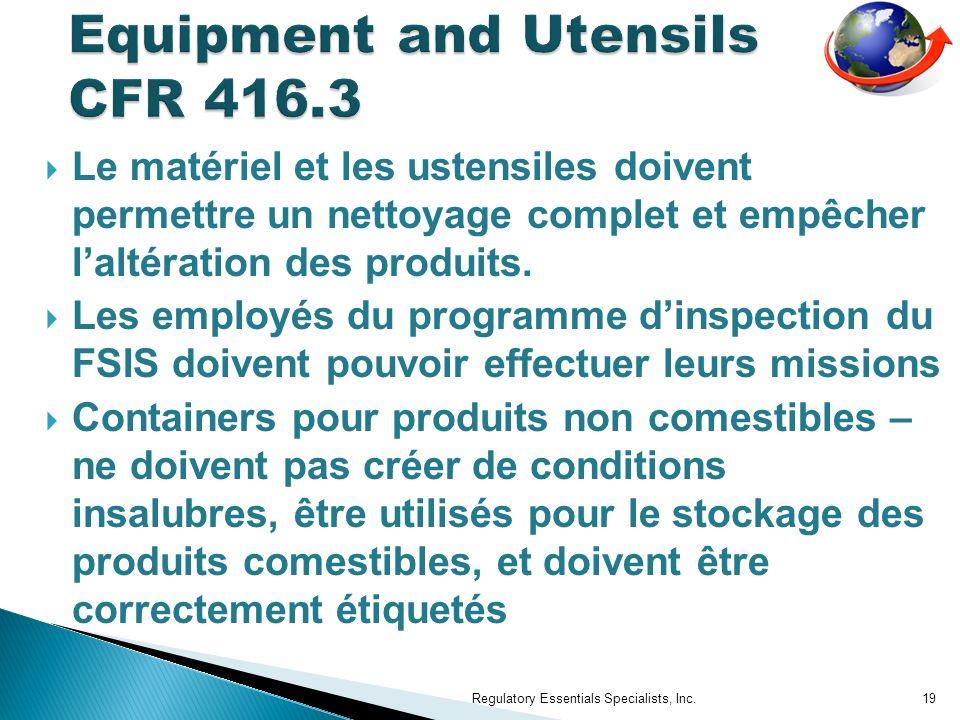 Equipment and Utensils CFR 416.3