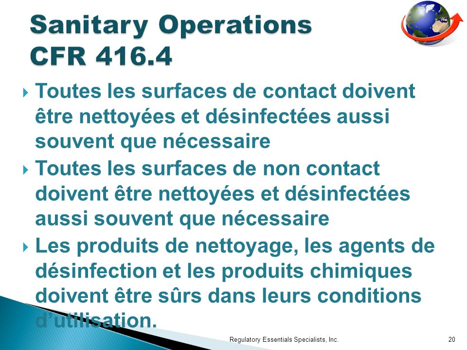 Sanitary Operations CFR 416.4