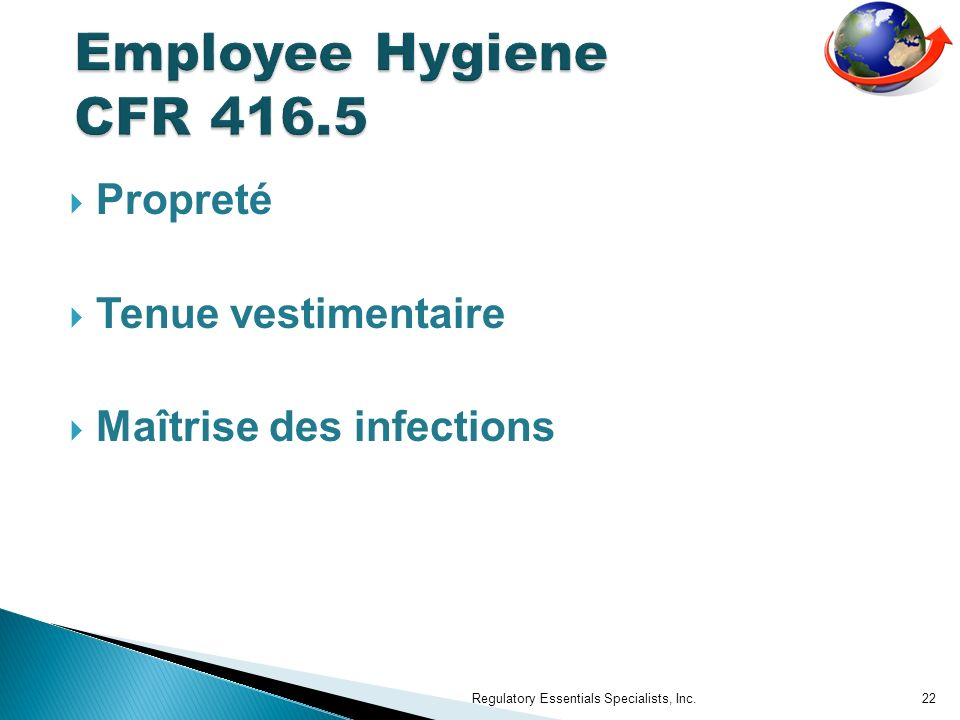Employee Hygiene CFR 416.5 Propreté Tenue vestimentaire