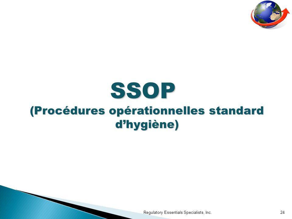 SSOP (Procédures opérationnelles standard d'hygiène)