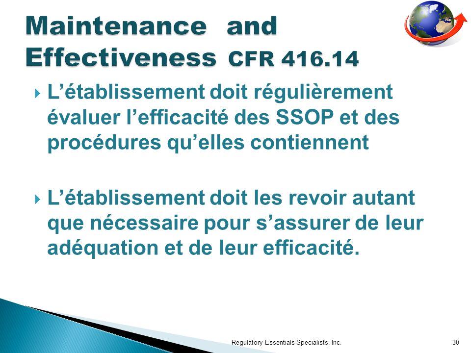 Maintenance and Effectiveness CFR 416.14