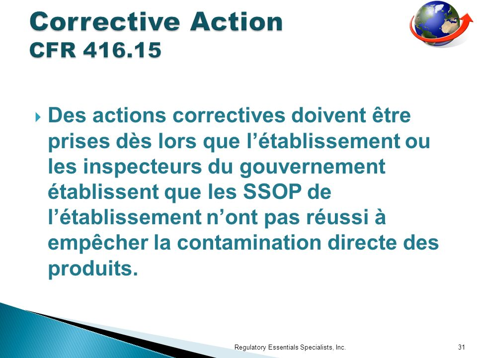 Corrective Action CFR 416.15