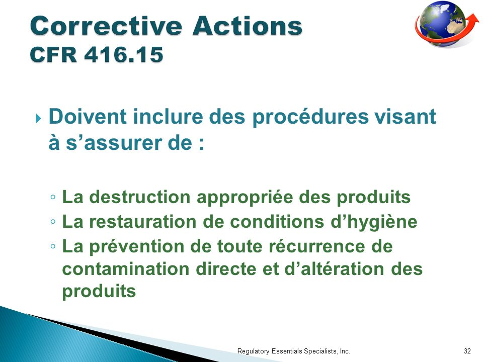 Corrective Actions CFR 416.15