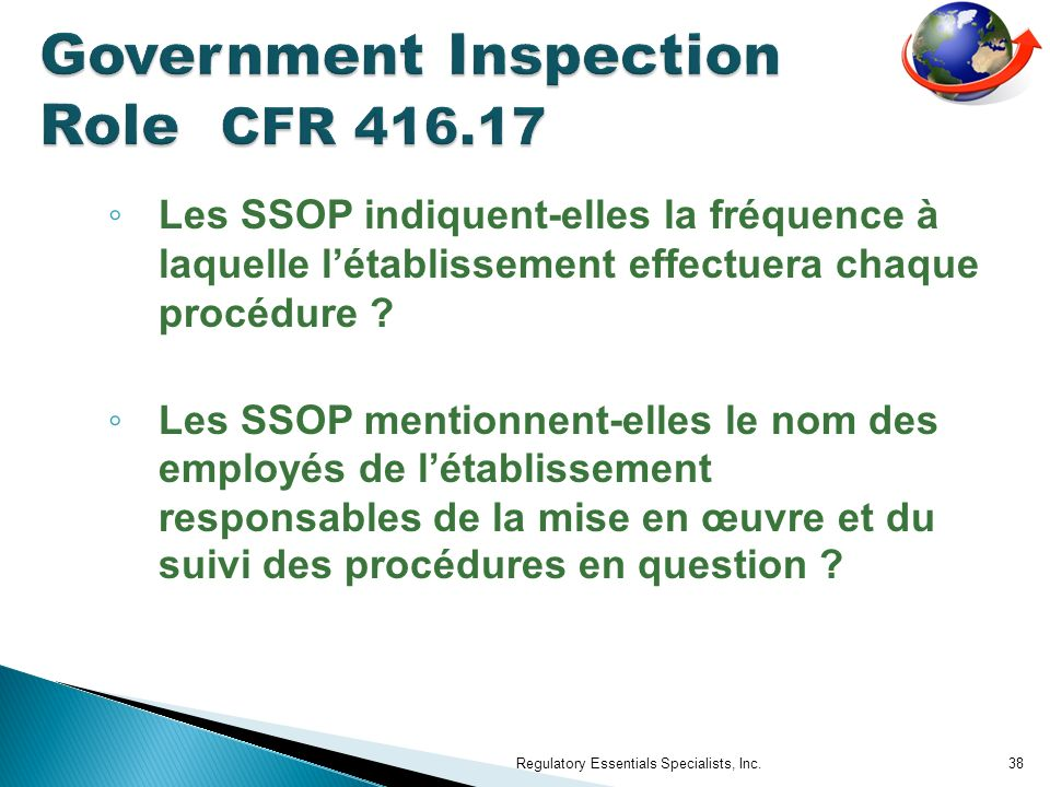 Government Inspection Role CFR 416.17
