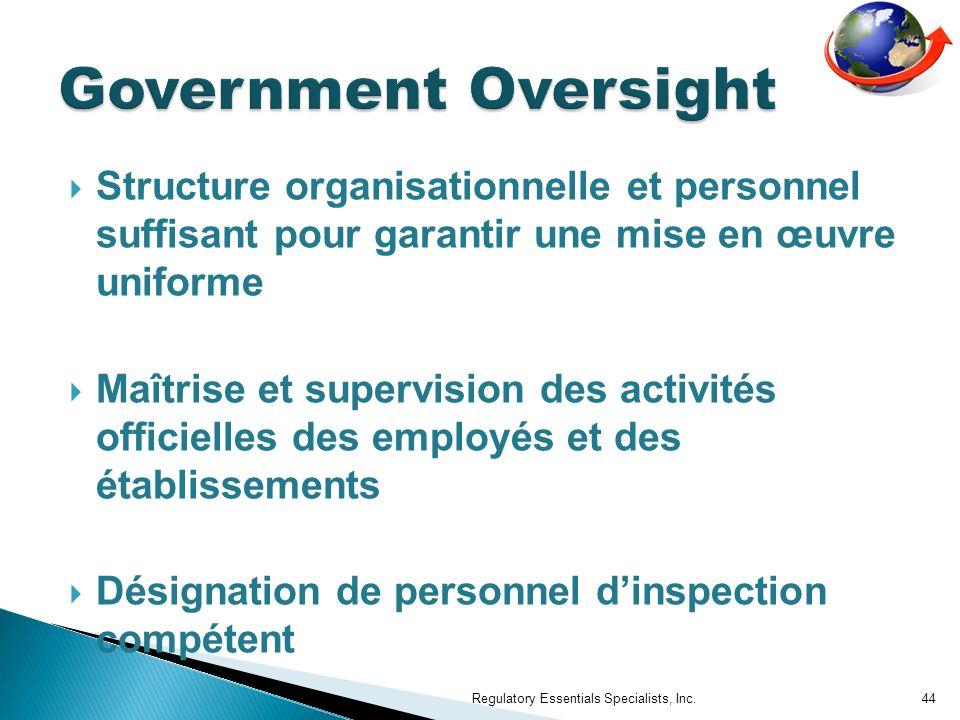 Government Oversight Structure organisationnelle et personnel suffisant pour garantir une mise en œuvre uniforme.