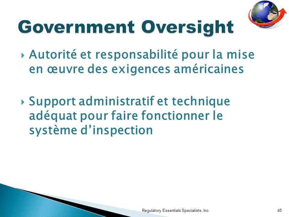 Government Oversight Autorité et responsabilité pour la mise en œuvre des exigences américaines.