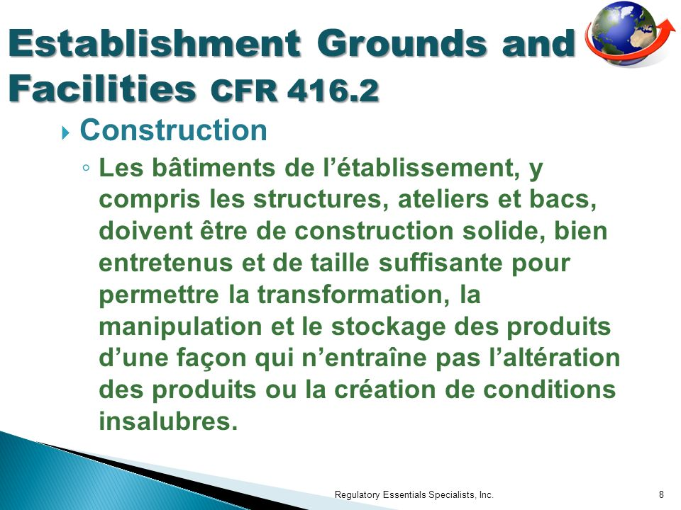 Establishment Grounds and Facilities CFR 416.2