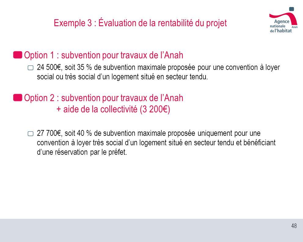 Exemple 3 : Évaluation de la rentabilité du projet