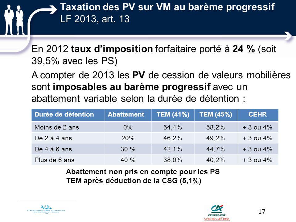 Taxation des PV sur VM au barème progressif LF 2013, art. 13