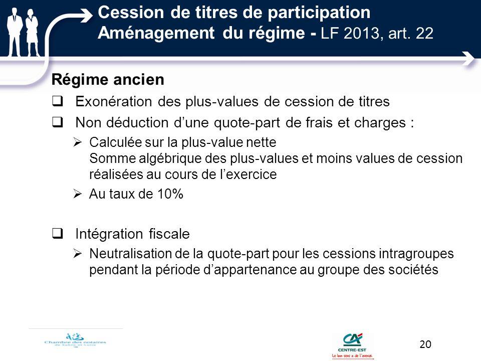 Cession de titres de participation Aménagement du régime - LF 2013, art. 22
