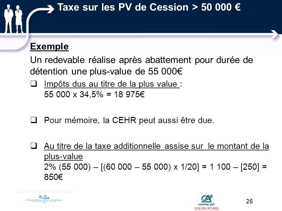 Taxe sur les PV de Cession > 50 000 €