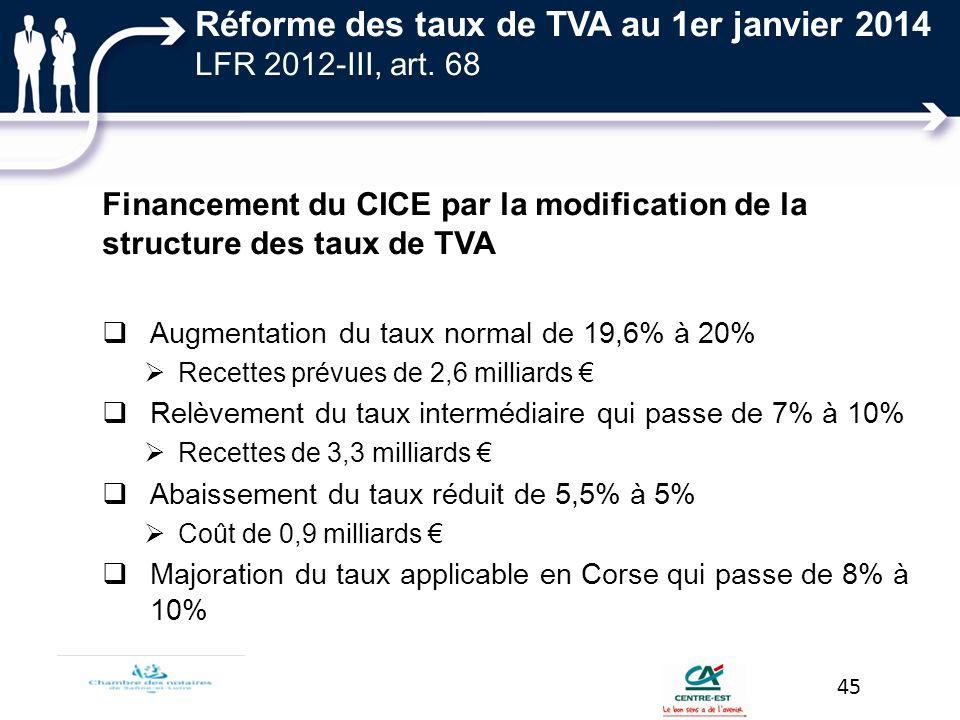 Réforme des taux de TVA au 1er janvier 2014 LFR 2012-III, art. 68