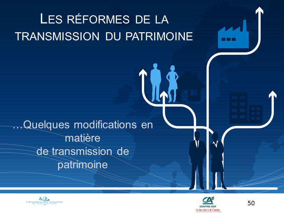 Les réformes de la transmission du patrimoine