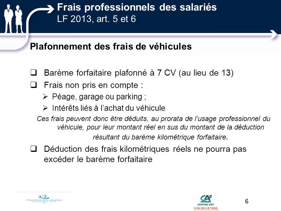 Frais professionnels des salariés LF 2013, art. 5 et 6