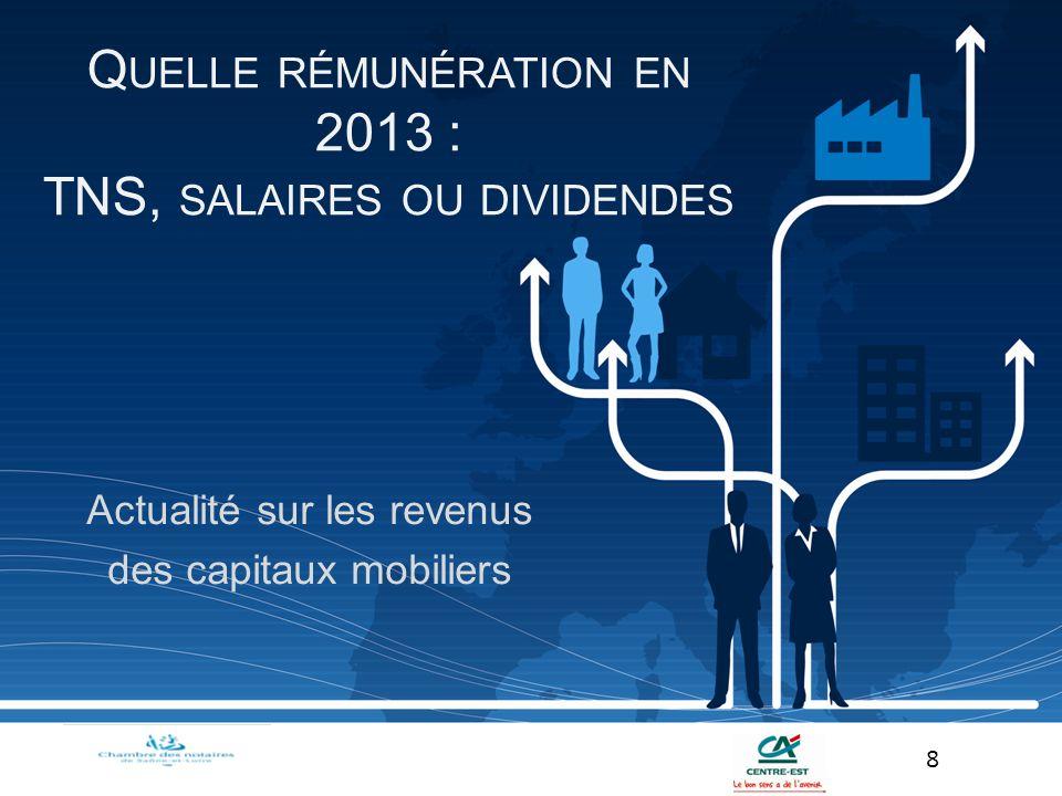 Quelle rémunération en 2013 : TNS, salaires ou dividendes