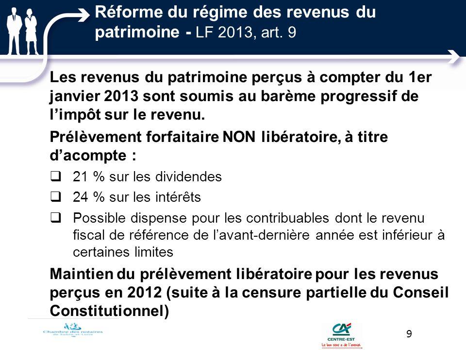Réforme du régime des revenus du patrimoine - LF 2013, art. 9