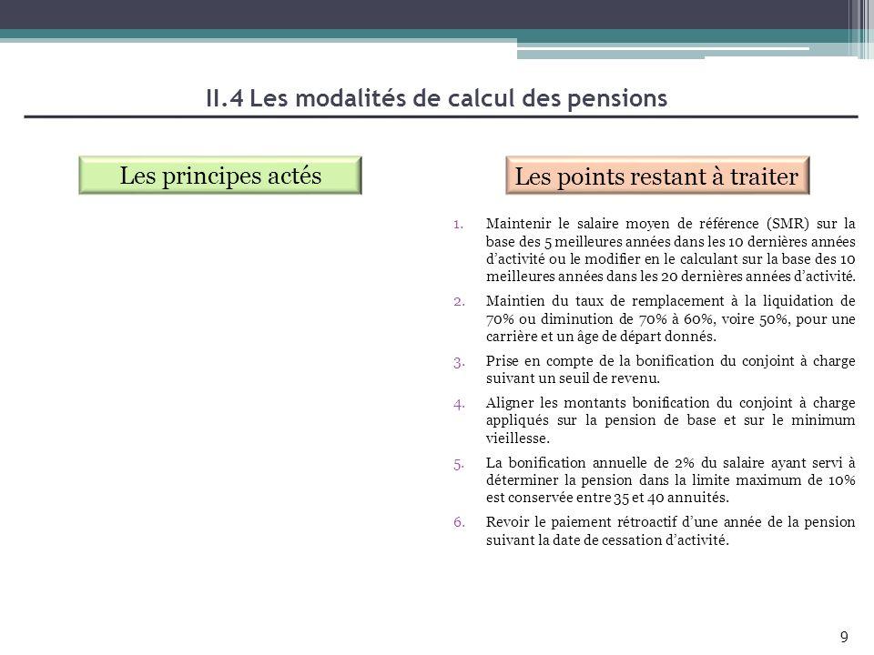 II.4 Les modalités de calcul des pensions