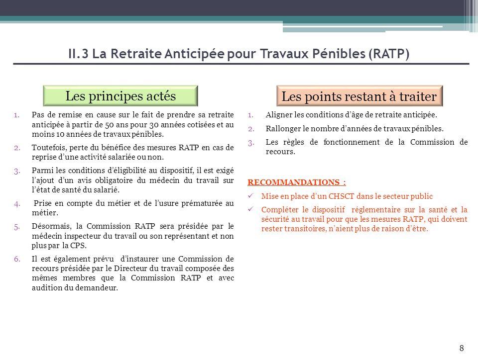 II.3 La Retraite Anticipée pour Travaux Pénibles (RATP)
