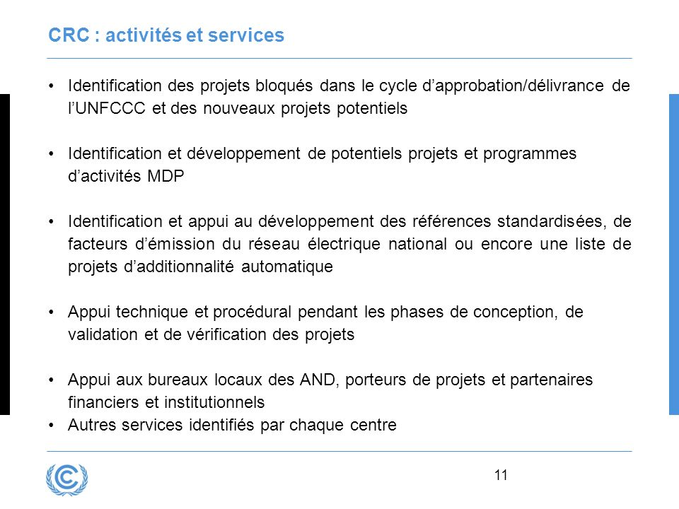 CRC : activités et services