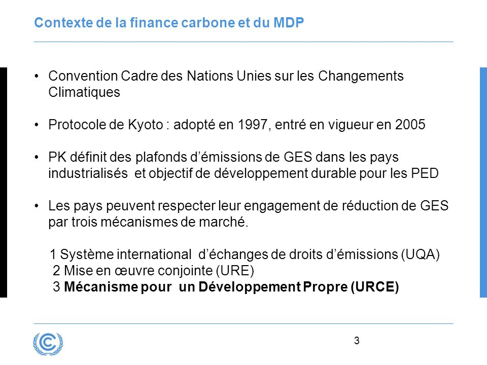 Contexte de la finance carbone et du MDP