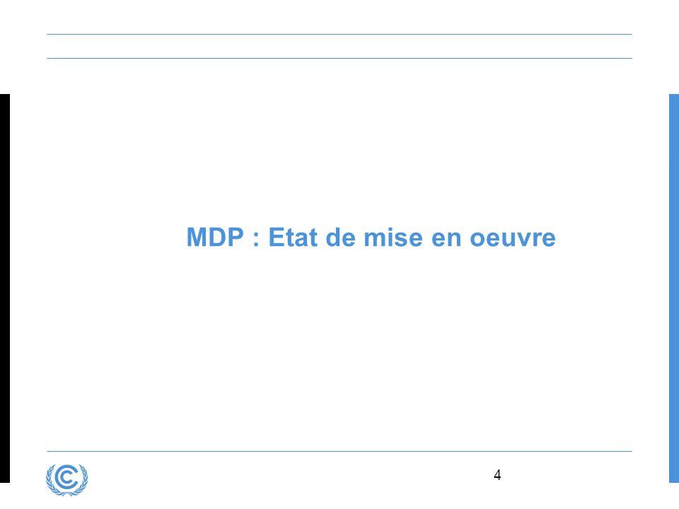 MDP : Etat de mise en oeuvre
