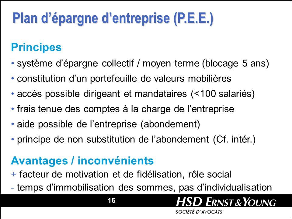 Plan d'épargne d'entreprise (P.E.E.)