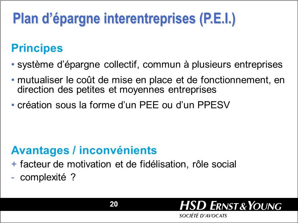 Plan d'épargne interentreprises (P.E.I.)