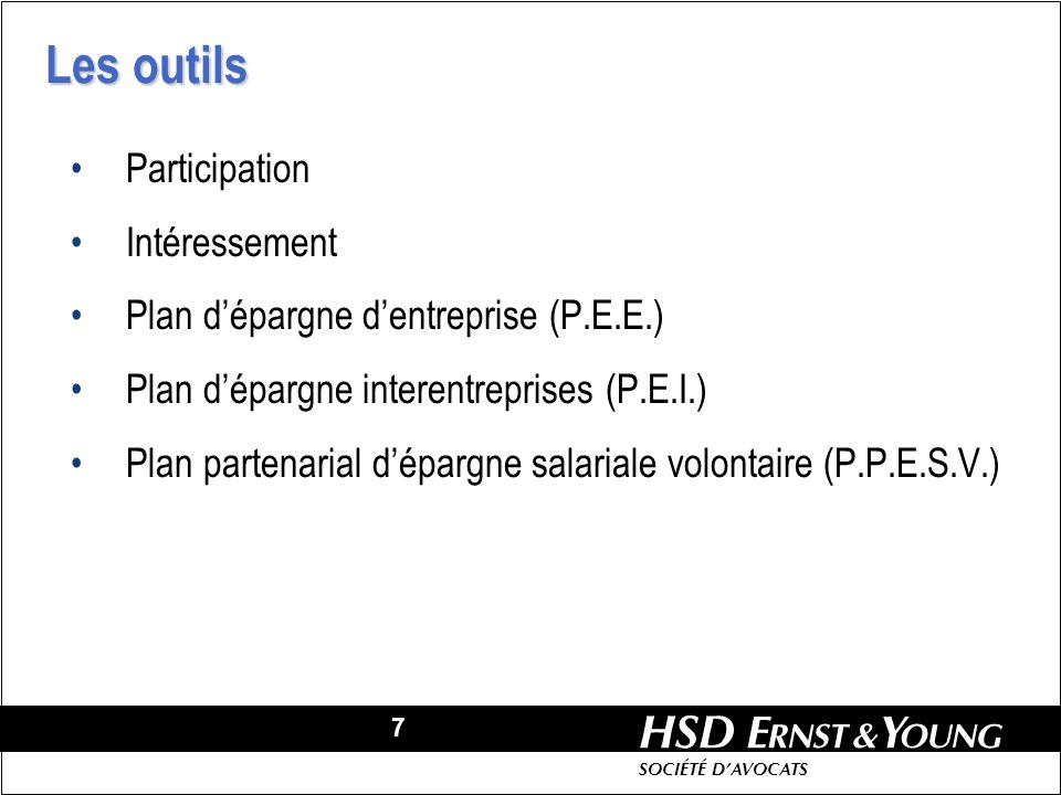 Les outils Participation Intéressement